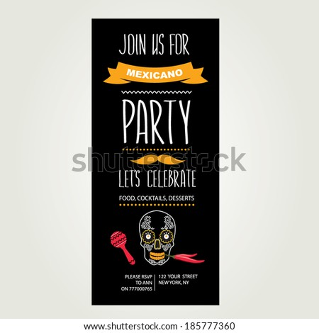 invitation mexican party typography vector illustration stock vector