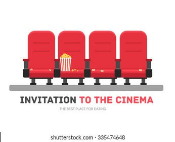 An invitation to the movie in flat design background concept. Armchairs cinema with popcorn. Icons for your product or illustration, web and mobile applications