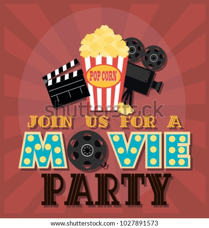 invitation movie party hollywood party poster stock vector royalty