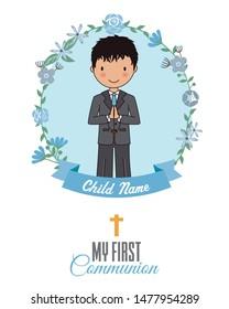 Invitation my first communion. Boy inside a flower frame