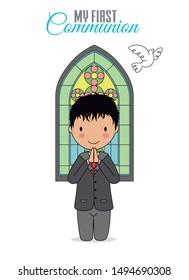 Invitation my first communion. Boy praying with church window behind