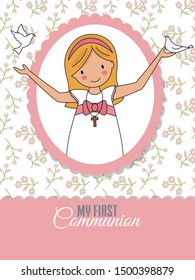 Invitation my first communion. Girl with pigeons