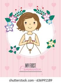 Invitation my first communion. Girl praying inside a flower frame