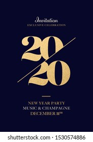 Invitation for New Year Eve 2020 Celebration. Gold Foil 2020 Numbers. Elegance New Year Greeting Card Artwork.