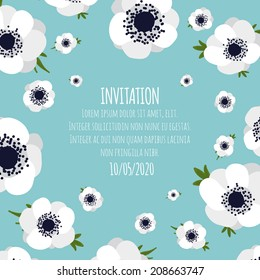 Invitation on a floral background with white anemones