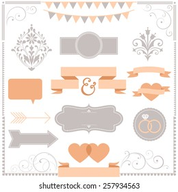 Invitation Ornament Set - Set of Wedding invitation design ornaments.  Colors are global for easy editing.  Repeating borders are included in brushes window.