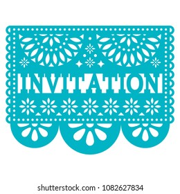 Invitation Papel Picado  vector design - party greeting card, Mexican pattern.  Cut out paper template with flowers and abstract shapes, festive floral composition in turquoise isolated on white