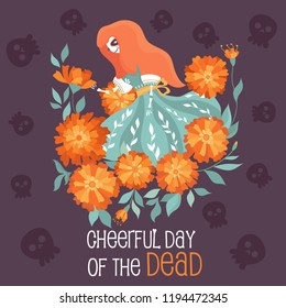 Invitation poster to the Day of the dead party. Dea de los muertos card.Beautiful skeleton girl in the colors of marigolds.