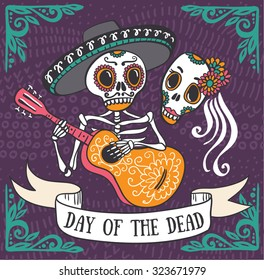 Invitation poster to the Day of the dead party. Dea de los muertos card.