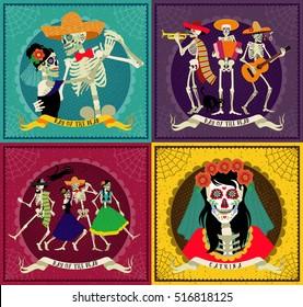 Invitation poster to the Day of the dead party. Dea de los muertos card.