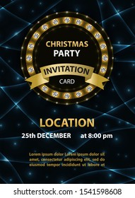 Invitation poster template for Christmas party.
