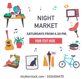 Invitation poster to visit the market fair like night market, weekend market, or flea market, can be used to promote the place, doodle style on white background, illustration, vector