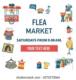The invitation poster to visit the market fair like flea market, weekend market, or night market, can be used for advertising , colorful doodle flat style on white background, illustration, vector
