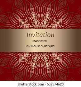 Invitation in red and gold colours with vintage pattern