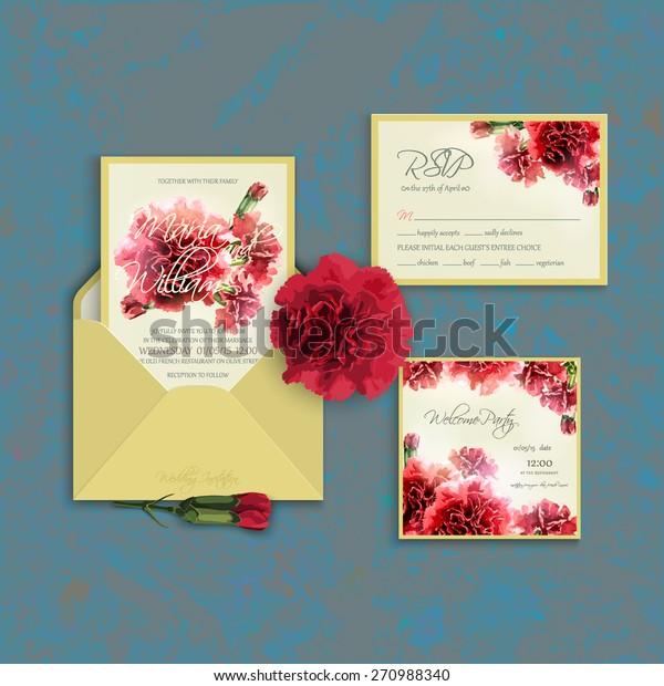 66324e3447ae2 Invitation Set Template Watercolor Red Carnation Stock Vector ...