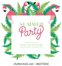 Invitation Summer Party card with pink flamingos and green leaves. Vector and illustration design.