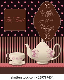 Invitation for tea party on vintage background