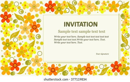 Invitation template with abstract flowers. Suitable for weddings, birthdays, parties. Vector illustration.