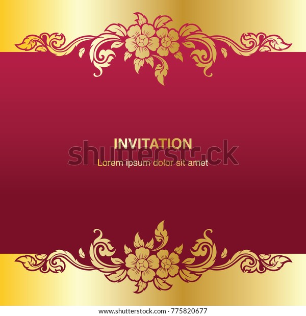 Invitation Template Background Frame Border Vector Stock