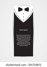 Invitation template, black design with bow tie