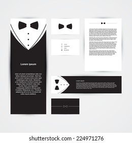 Invitation template, black design with bow tie, business card, banner, vector illustration