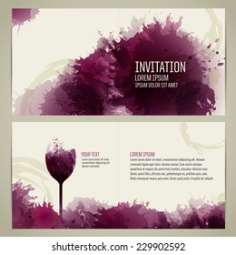 Invitation template for event or party. Suitable for tasting events or wine presentation. Artistic design background with stains.