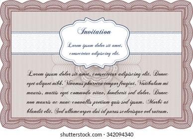 Invitation template. Excellent design. Easy to print. Border, frame.