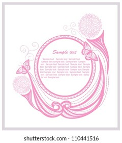 Invitation template with floral elements. Abstract border or frame.
