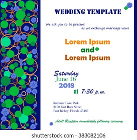 Invitation template. Flowers blue, circle green. Background white. Can be used for wedding invitations, birthday and other holiday. Vector illustration.
