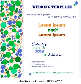 Invitation template. Flowers blue, circle green. Background white, blue. Can be used for wedding invitations, birthday and other holiday. Vector illustration.