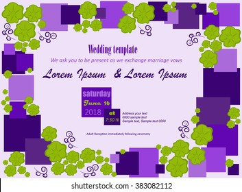 Invitation template. Flowers green, purple squares, white background. Can be used for wedding invitations, birthday and other holiday. Vector illustration.
