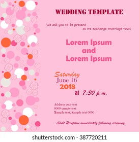 Invitation Template. Flowers pink, circle. Pink background. Can be used for wedding invitations, birthday and other holidays. Vector illustration.