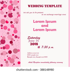 Invitation Template. Flowers pink, pink circle. White background. Can be used for wedding invitations, birthday and other holidays. Vector illustration.