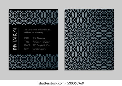 Invitation template with geometric pattern border and background.