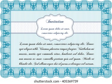 Invitation template. Nice design. Easy to print. Detailed.