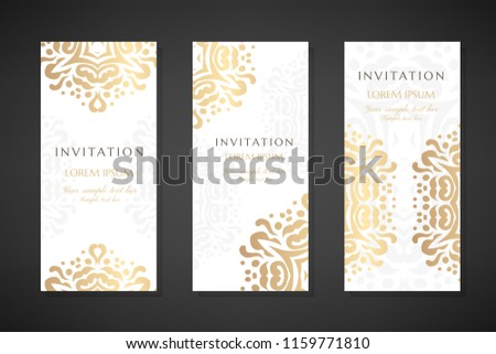 invitation templates cover design gold ornaments stock vector