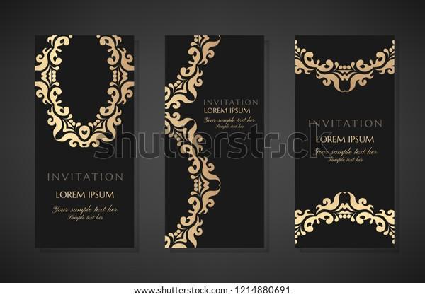 Invitation Templates Cover Design Gold Ornaments Stock Vector ...