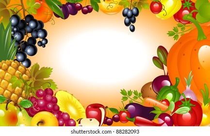 invitation to Thanksgiving. Vegetable, fruit background.
