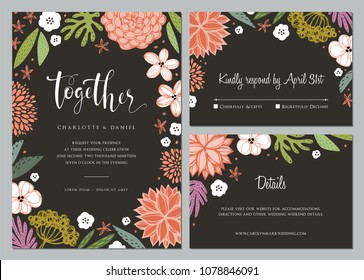 Invitation and universal card design set with floral wreath. Wedding templates. Good for birthday, menu, bridal and baby shower. Vector file.