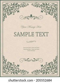 invitation with victorian ornament in green and beige colors