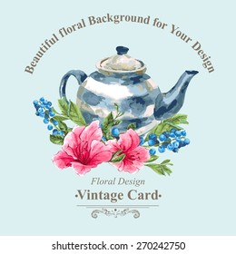 Invitation Vintage Card with Blueberries, Pink Tropical Flowers and Teapot, Watercolor Vector Illustration