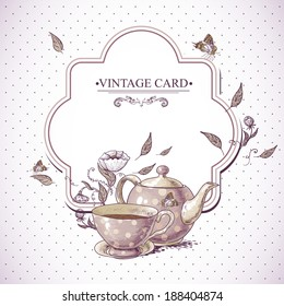 Invitation Vintage Card with a Cup of Tea or Coffee, Pot, Flowers and Butterfly. Vector Design element.