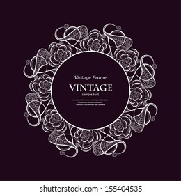 Invitation vintage card with floral ornament