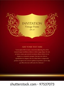 Invitation vintage frame greeting card, Vector illustration