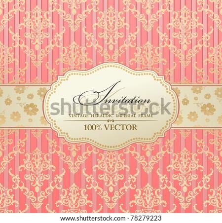 4c69e87e82a4 Invitation vintage label vector frame pink pastel. Blank frame and label  Vintage sticker emblem.