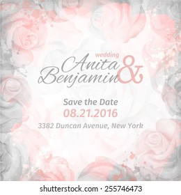 invitation to the wedding. Abstract romantic rose background in pink and gray colors. Vector