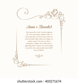 Invitation or wedding card with decorative elements. Template for greeting cards, invitations, menus, labels. Graphic design page.