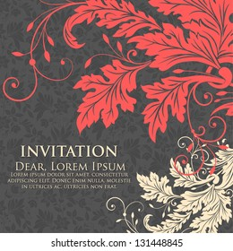 Invitation or wedding card with flower background and elegant floral elements.
