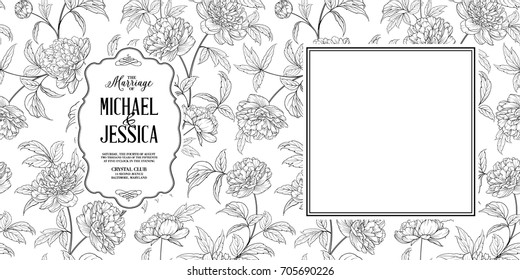 Invitation wedding card with flowers. Blossom magnolia for you personal marriage design. Magnolia pattern. Floral theme for book cover. Botanical vector illustration.
