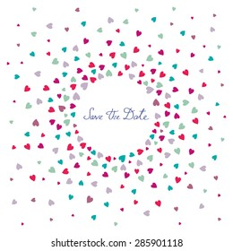 """Invitation wedding card with heart confetti on a white background and words """"Save the date"""""""